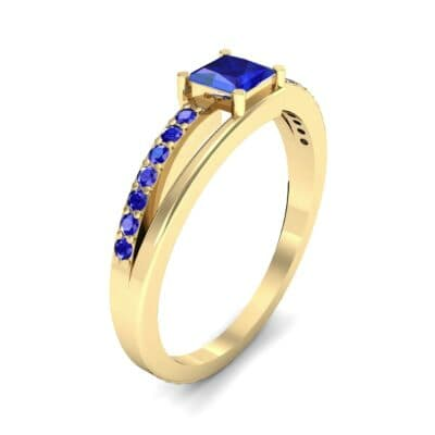 Princess-Cut Bypass Blue Sapphire Engagement Ring (0.53 CTW) Perspective View
