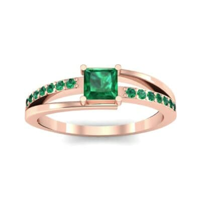 Princess-Cut Bypass Emerald Engagement Ring (0.53 CTW) Top Dynamic View