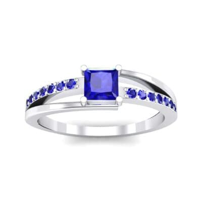 Princess-Cut Bypass Blue Sapphire Engagement Ring (0.53 CTW) Top Dynamic View