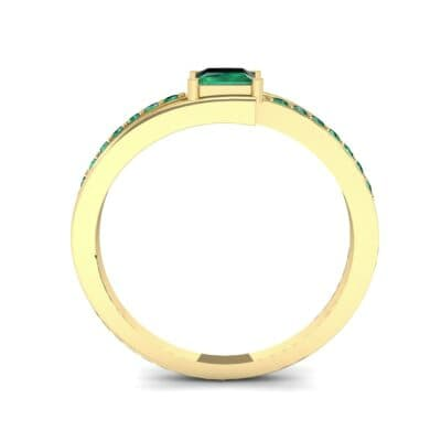 Princess-Cut Bypass Emerald Engagement Ring (0.53 CTW) Side View