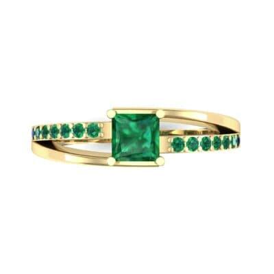 Princess-Cut Bypass Emerald Engagement Ring (0.53 CTW) Top Flat View