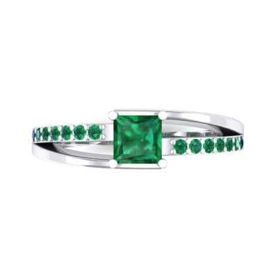 Princess-Cut Bypass Emerald Engagement Ring (0.53 CTW) Top Flat View
