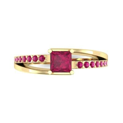 Princess-Cut Bypass Ruby Engagement Ring (0.53 CTW) Top Flat View