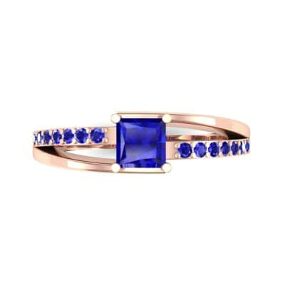 Princess-Cut Bypass Blue Sapphire Engagement Ring (0.53 CTW) Top Flat View