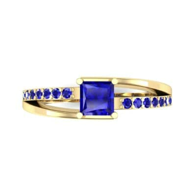 Princess-Cut Bypass Blue Sapphire Engagement Ring (0.53 CTW) Top Flat View