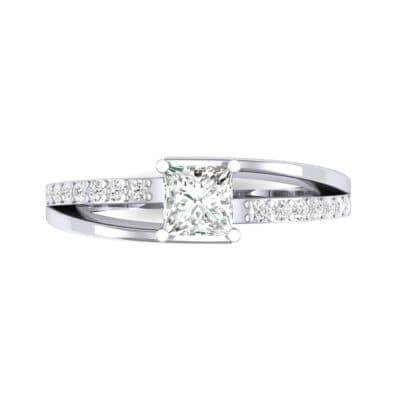 Princess-Cut Bypass Diamond Engagement Ring (0.53 CTW) Top Flat View