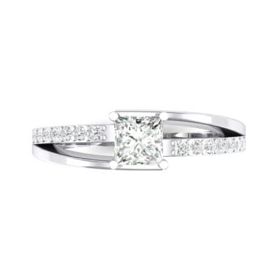 Princess-Cut Bypass Crystal Engagement Ring (0.53 CTW) Top Flat View