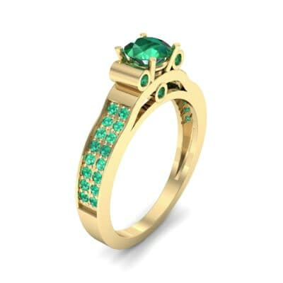 Pave Scroll Solitaire Emerald Engagement Ring (1.22 CTW)