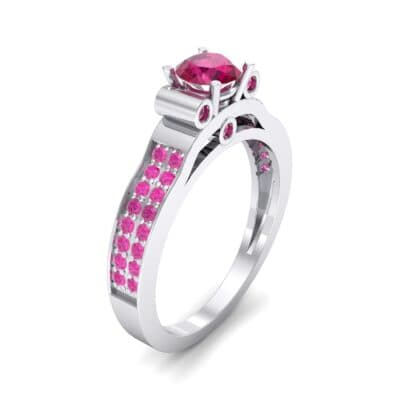 Pave Scroll Solitaire Ruby Engagement Ring (1.22 CTW)