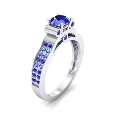 Pave Scroll Solitaire Blue Sapphire Engagement Ring (1.22 CTW)