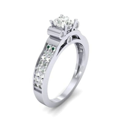 Pave Scroll Solitaire Diamond Engagement Ring (1.22 CTW)