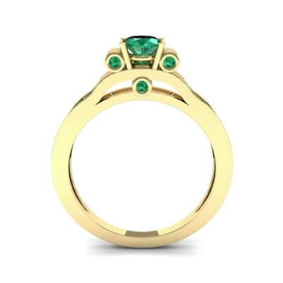Pave Scroll Solitaire Emerald Engagement Ring (1.22 CTW) Side View
