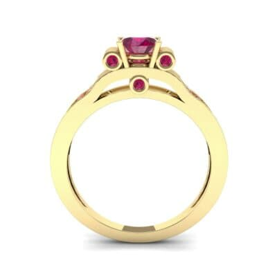 Pave Scroll Solitaire Ruby Engagement Ring (1.22 CTW) Side View