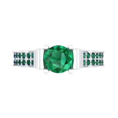 Pave Scroll Solitaire Emerald Engagement Ring (1.22 CTW) Top Flat View