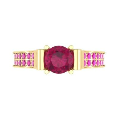 Pave Scroll Solitaire Ruby Engagement Ring (1.22 CTW) Top Flat View
