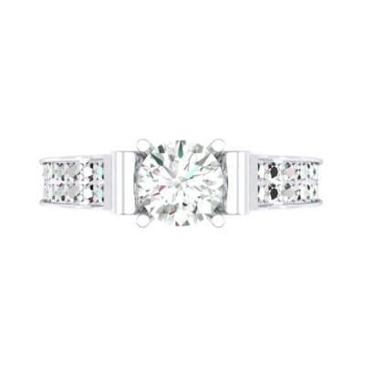 Pave Scroll Solitaire Diamond Engagement Ring (1.22 CTW) Top Flat View