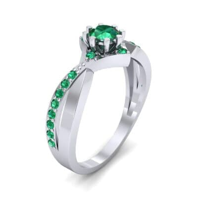 Natale Cross Shank Emerald Engagement Ring (0.88 CTW) Perspective View
