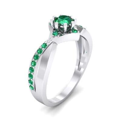 Natale Cross Shank Emerald Engagement Ring (0.88 CTW)