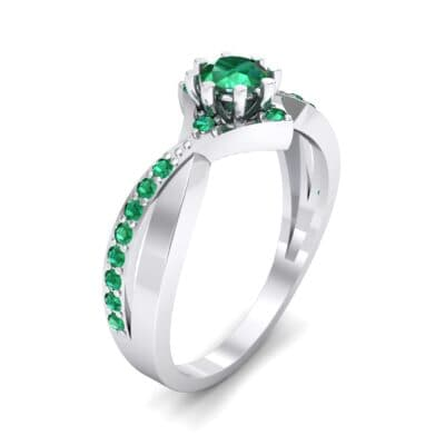 Natale Cross Shank Emerald Engagement Ring (0.88 CTW)