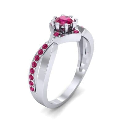 Natale Cross Shank Ruby Engagement Ring (0.88 CTW)