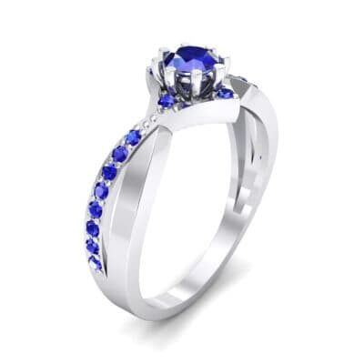 Natale Cross Shank Blue Sapphire Engagement Ring (0.88 CTW) Perspective View