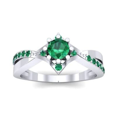 Natale Cross Shank Emerald Engagement Ring (0.88 CTW) Top Dynamic View