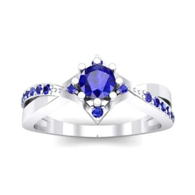 Natale Cross Shank Blue Sapphire Engagement Ring (0.88 CTW) Top Dynamic View