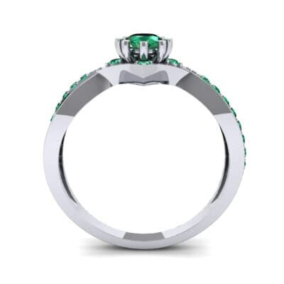 Natale Cross Shank Emerald Engagement Ring (0.88 CTW) Side View