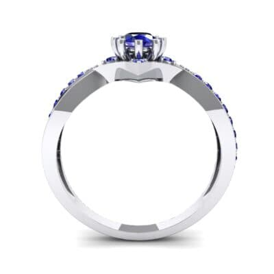 Natale Cross Shank Blue Sapphire Engagement Ring (0.88 CTW) Side View