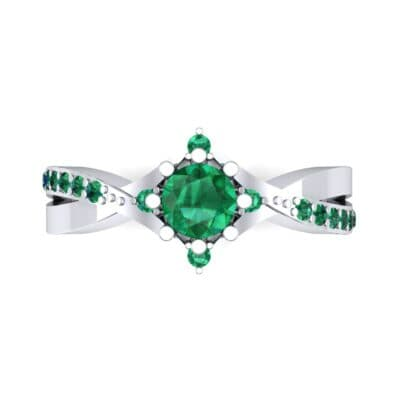Natale Cross Shank Emerald Engagement Ring (0.88 CTW) Top Flat View