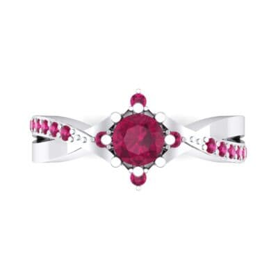 Natale Cross Shank Ruby Engagement Ring (0.88 CTW) Top Flat View