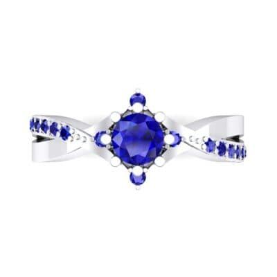 Natale Cross Shank Blue Sapphire Engagement Ring (0.88 CTW) Top Flat View