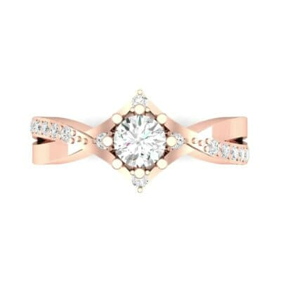 Natale Cross Shank Diamond Engagement Ring (0.88 CTW) Top Flat View
