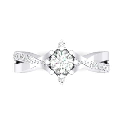 Natale Cross Shank Diamond Engagement Ring (0.88 CTW) Top Flat View
