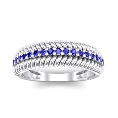 Athena Rope Border Blue Sapphire Ring (0.26 CTW) Top Dynamic View