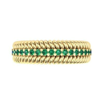 Athena Rope Border Emerald Ring (0.26 CTW) Top Flat View