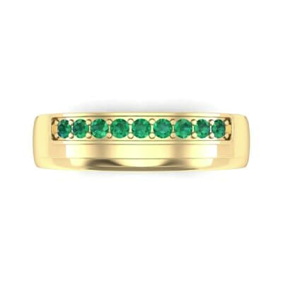 Dais Pave Emerald Ring (0.14 CTW) Top Flat View