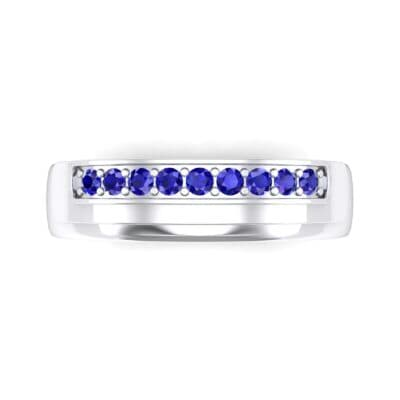 Dais Pave Blue Sapphire Ring (0.14 CTW) Top Flat View