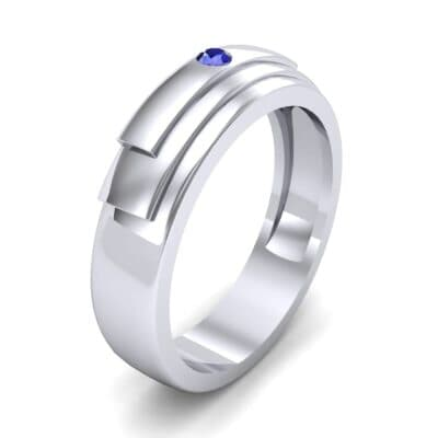 Dais Single Stone Blue Sapphire Ring (0.03 CTW) Perspective View