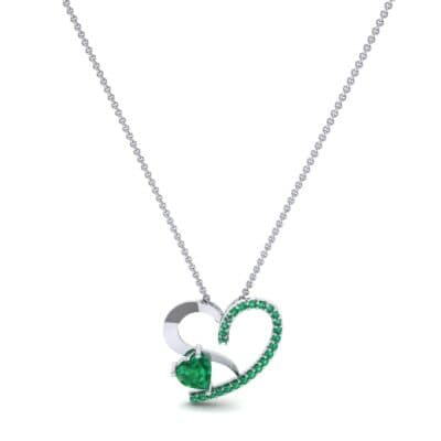 Half-Pave Two Heart Emerald Pendant (0.51 CTW) Perspective View