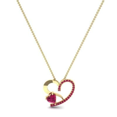 Half-Pave Two Heart Ruby Pendant (0.51 CTW) Perspective View