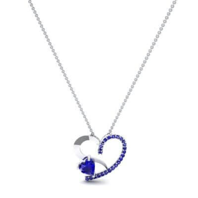 Half-Pave Two Heart Blue Sapphire Pendant (0.51 CTW) Perspective View