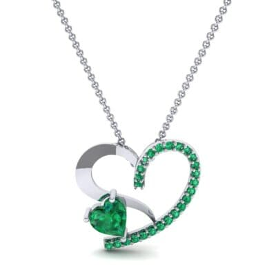Half-Pave Two Heart Emerald Pendant (0.51 CTW) Top Dynamic View