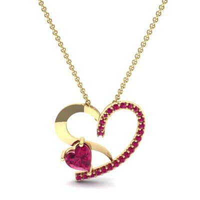Half-Pave Two Heart Ruby Pendant (0.51 CTW) Top Dynamic View