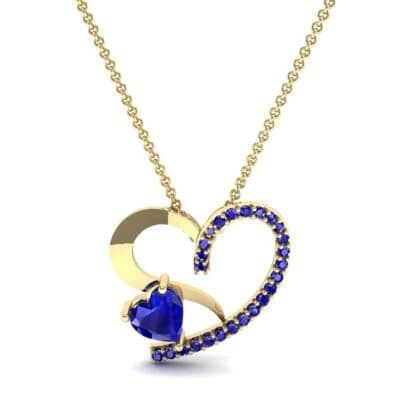 Half-Pave Two Heart Blue Sapphire Pendant (0.51 CTW) Top Dynamic View
