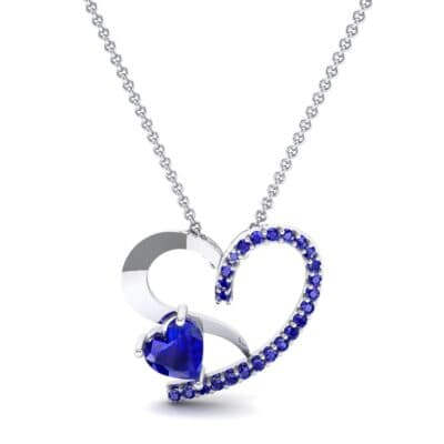 Half-Pave Two Heart Blue Sapphire Pendant (0.51 CTW) Top Dynamic View