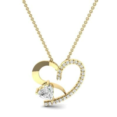 Half-Pave Two Heart Diamond Pendant (0.51 CTW) Top Dynamic View