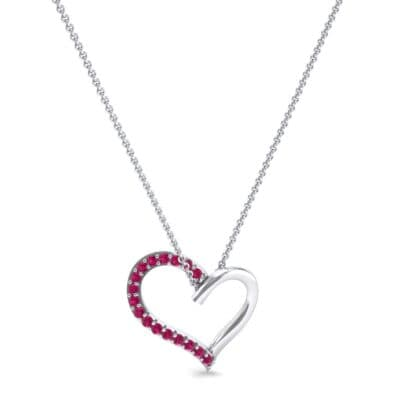 Half-Pave Heart Ruby Pendant (0.26 CTW) Perspective View