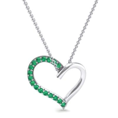 Half-Pave Heart Emerald Pendant (0.26 CTW) Top Dynamic View