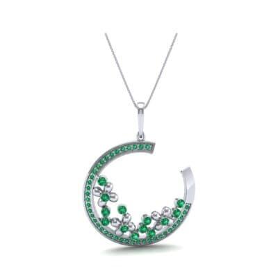 Open Circle Flora Emerald Pendant (0.86 CTW) Perspective View